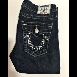True Religion Hi Rise Boot Crystal Jeans 29